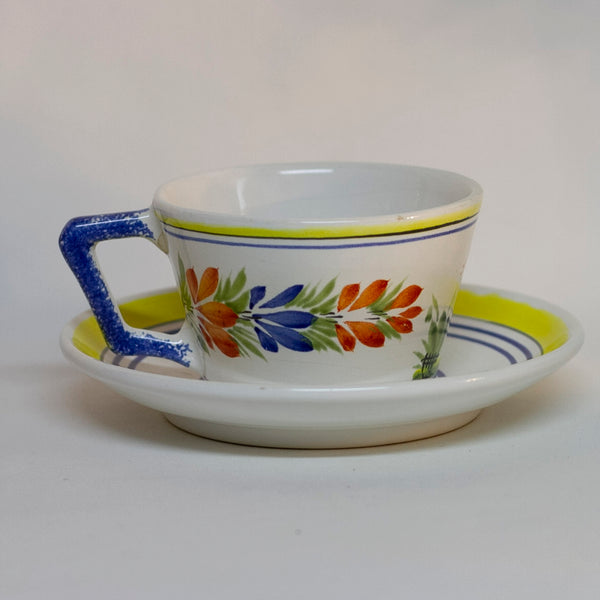 Vintage Hand Painted French Faïence Quimper by HENRIOT White Glaze with Peasant Man FLAT CUP & SAUCER Circa 1968 - 1983