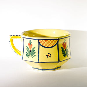 French Faïence HB QUIMPER OCTAGONAL Hand Painted FLAT CUP Circa 1940 - 1960