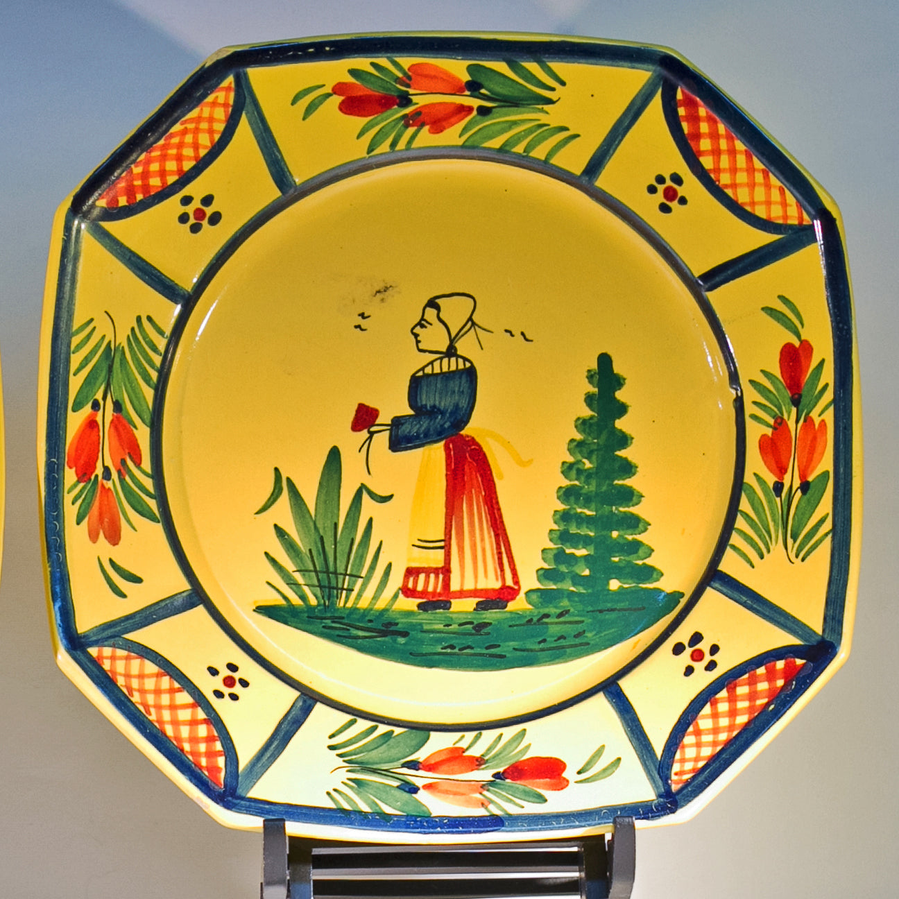 Vintage Hand Painted French Faïence by HB QUIMPER OCTAGONAL LUNCHEON PLATE Peasant Lady and Lattice Circa 1922 - 1942