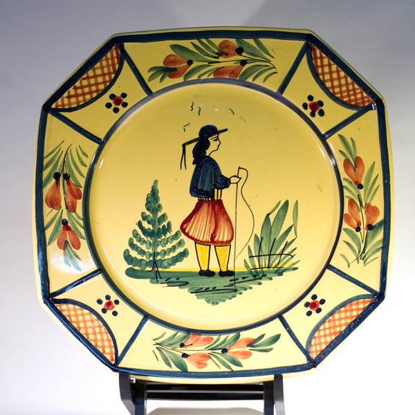 Vintage Hand Painted French Faïence by HB QUIMPER OCTAGONAL DINNER PLATE Peasant Man and Lattice Circa 1922 - 1942