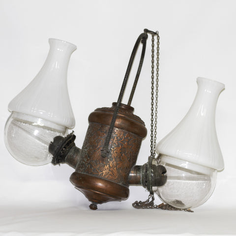The Angle Lamp Company DOUBLE BURNER HANGING LAMP Circa Late 1800s