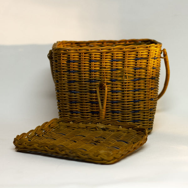 Vintage Wicker Rattan BOX-SHAPED HANDLE PURSE