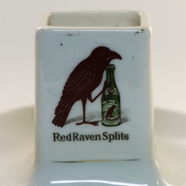 "RED RAVEN SPLITS ""ASK THE MAN"" Porcelain Advertising Double- Logo Match Holder Circa Early 1900s"