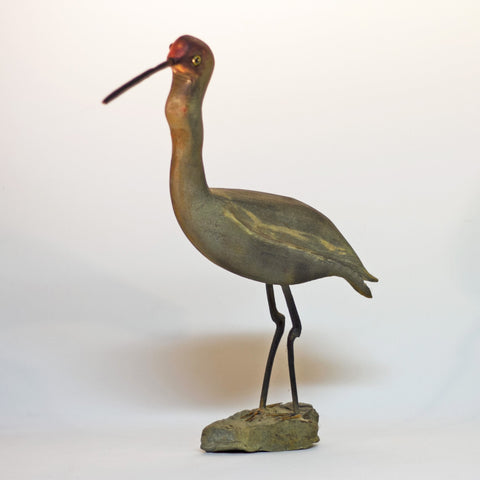 "Signed Hand Carved and Painted Folk Art REDDISH EGRET SHOREBIRD 14"" Tall by AL SCHATZLE"