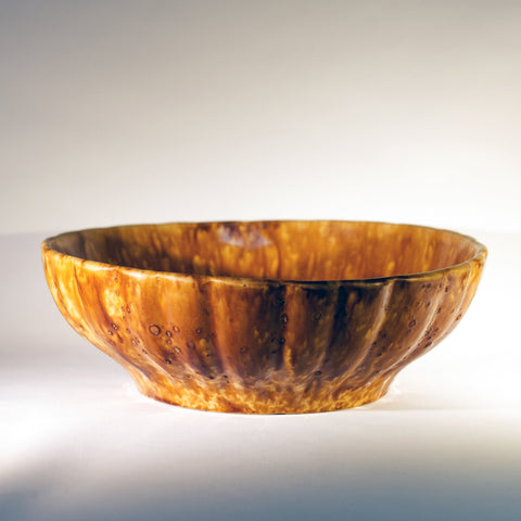 Antique AMERICAN ROCKINGHAM LARGE RIBBED BOWL Circa 1880 - 1900