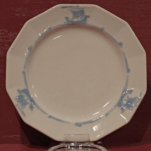 "BLUE SAILING SHIPS 6 ½"" BREAD PLATE by Rookwood Pottery Cincinnati Ohio"