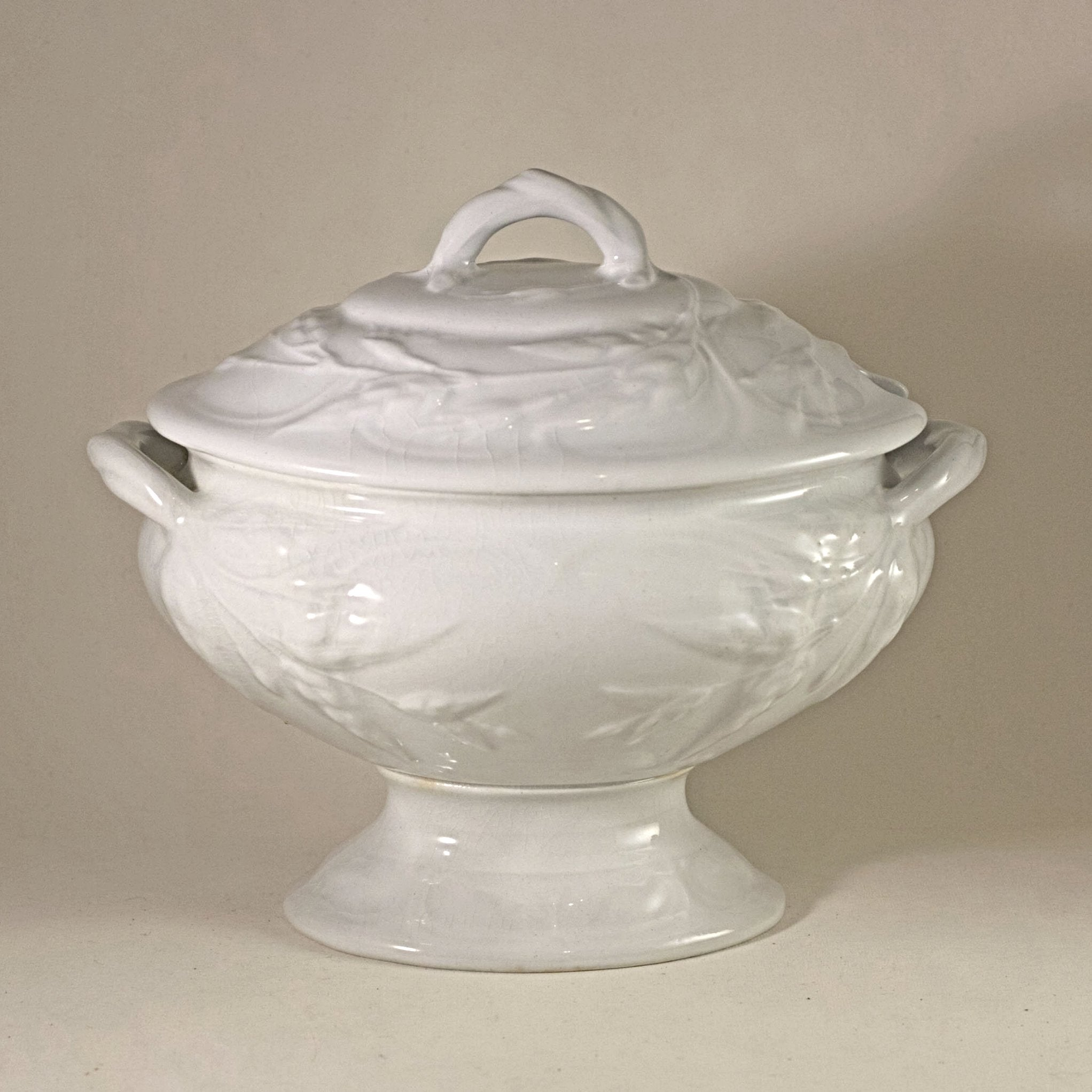 MINIATURE WHITE IRONSTONE Footed Covered Soup Tureen Imported by A De Forest of Ann Arbor Circa 19th Century