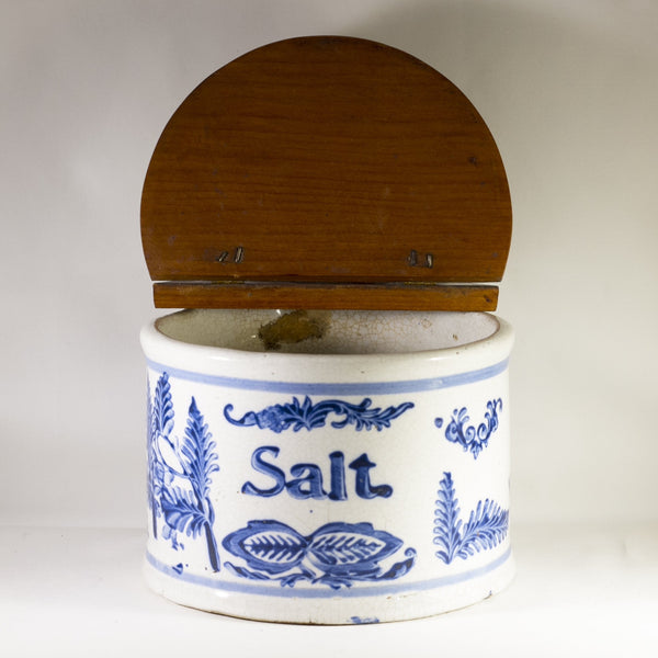 Antique Cobalt Blue and White Stoneware Slip-Decorated Hanging Salt Cellar