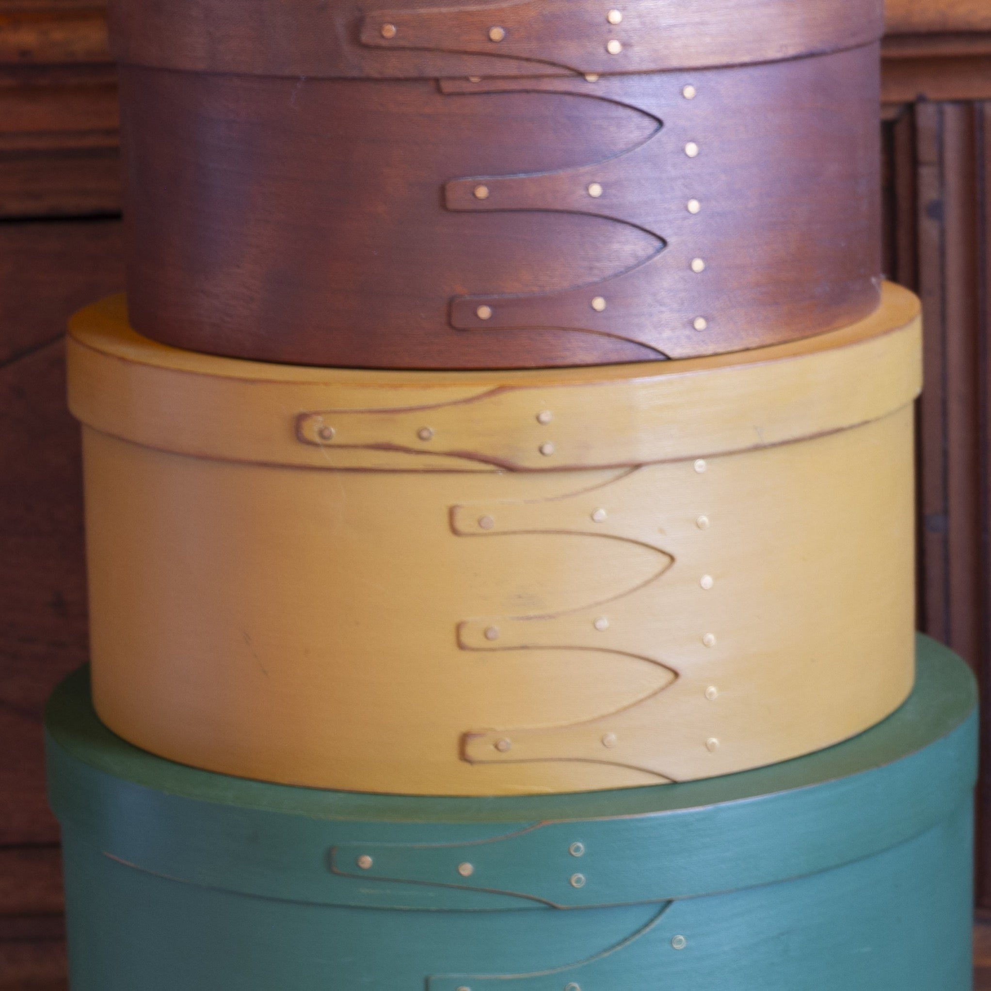 SHAKER-STYLE SWALLOW TAIL JOINTED Circular Nesting Boxes Set of Nine (9)