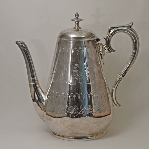 ENGRAVED ELECTROPLATED VICTORIAN COFFEEE POT