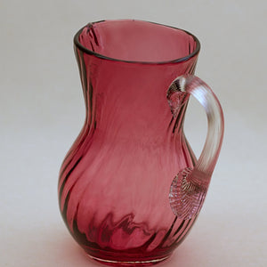 PILGRIM CRANBERRY GLASS Jug or Pitcher with Optic Swirl and Applied Clear Handle