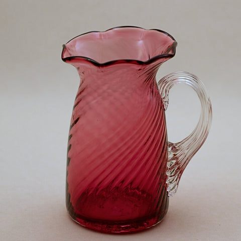 PILGRIM CRANBERRY GLASS Ruffled Rim Pitcher with Optic Swirl