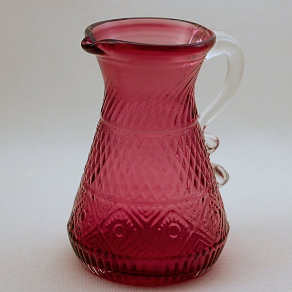 PILGRIM CRANBERRY GLASS Bennington Pitcher with Applied Clear Handle