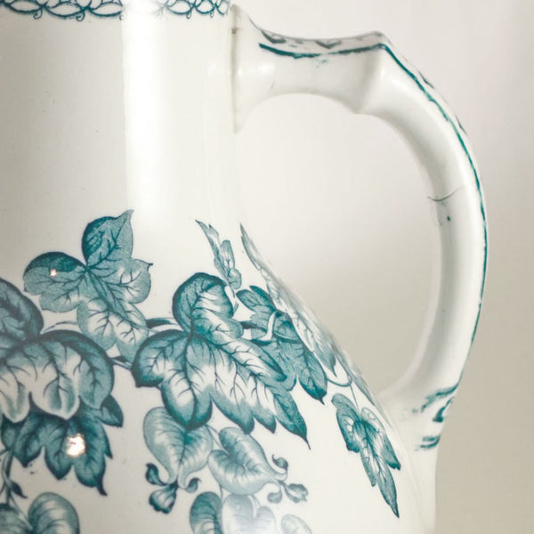 Antique DOULTON BURSLEM Transferware Pitcher in Green Trailing Vine Spect'is Pattern Circa 1882