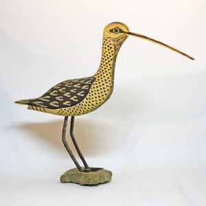 "Hand Carved and Painted Folk Art LONG-BILLED SPECKLED CURLEW SHOREBIRD 11"" Tall by AL SCHATZLE"