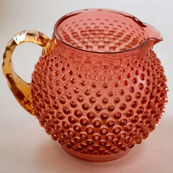 Rare FENTON CRANBERRY GLASS Hobnail Squat Jug with Amberina Crimped Handle Circa 1940s