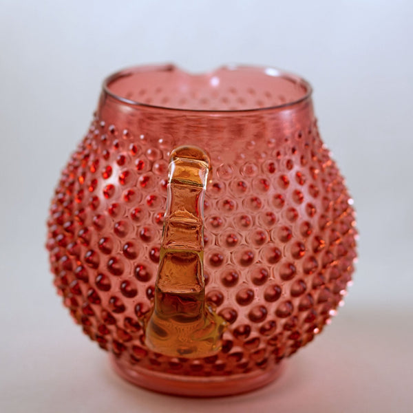 FENTON CRANBERRY GLASS Hobnail Squat Jug or Squat Pitcher