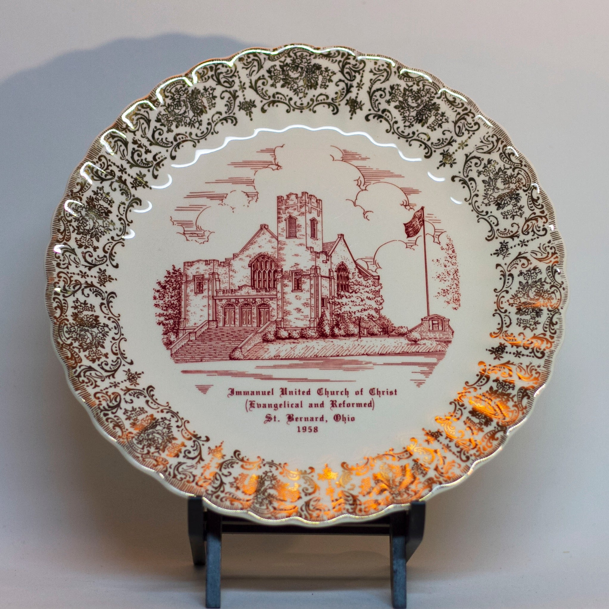 Vintage Decorative CHURCH PLATE Immanuel United Church of Christ St. Bernard Ohio 1958