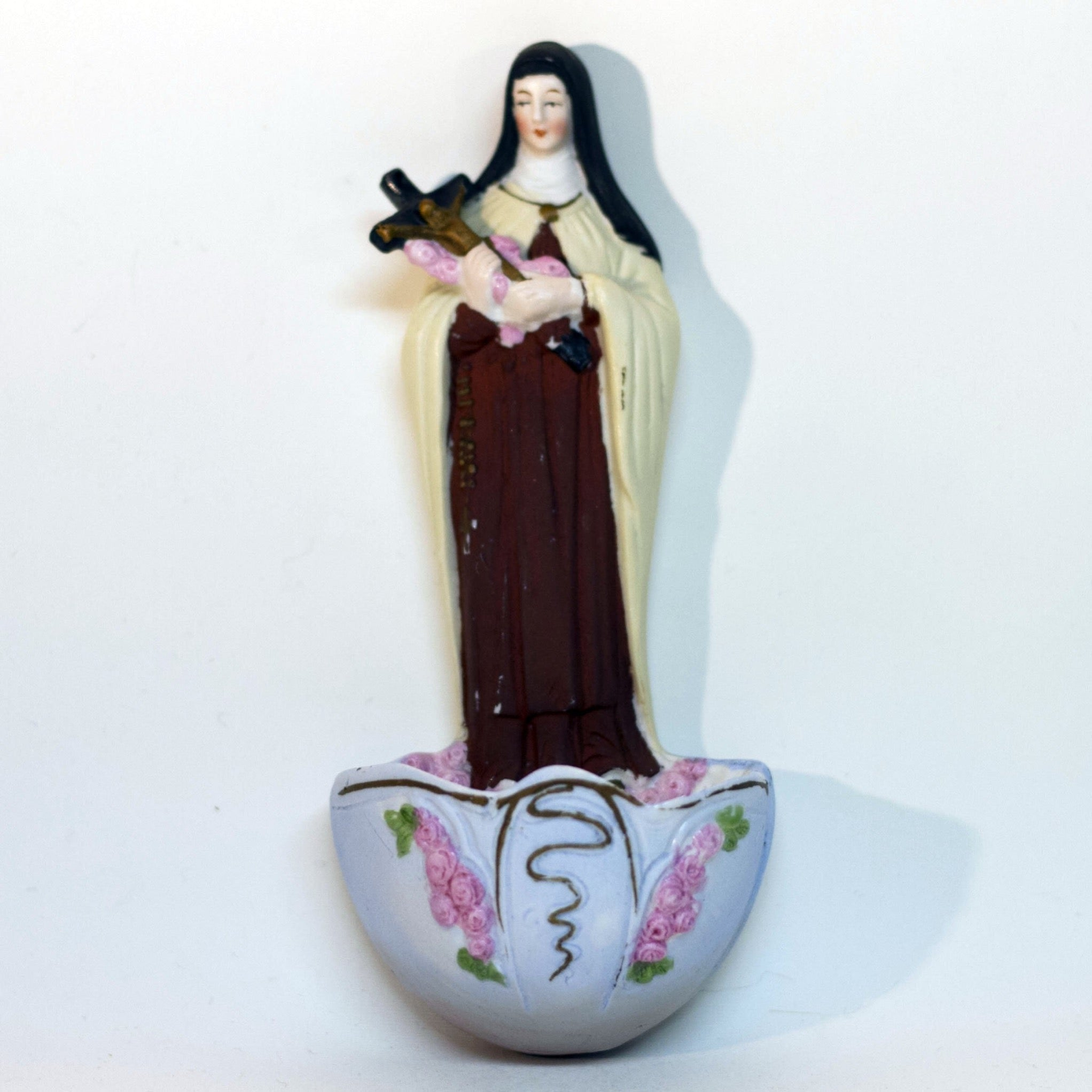 Vintage German HOLY WATER FONT Depicting ST. THERESE OF LISIEUX Colorfully Hand-Painted Bisque
