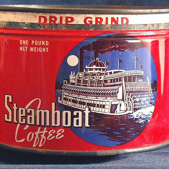 Vintage STEAMBOAT COFFEE CAN Wren House Circa 1950