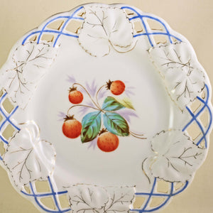 STRAWBERRY PORCELAIN PLATE with Reticulated Embossed Edge and Gilt Highlights