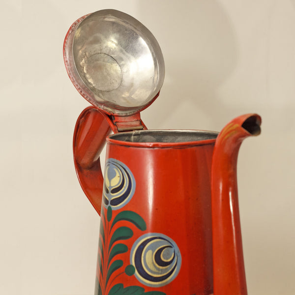 TOLE PAINTED COFFEE POT with Gooseneck Early American Reproduction