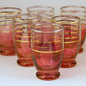 VINTAGE CRANBERRY GLASS Juice Tumblers with Gold Stripes Set of Six (6)