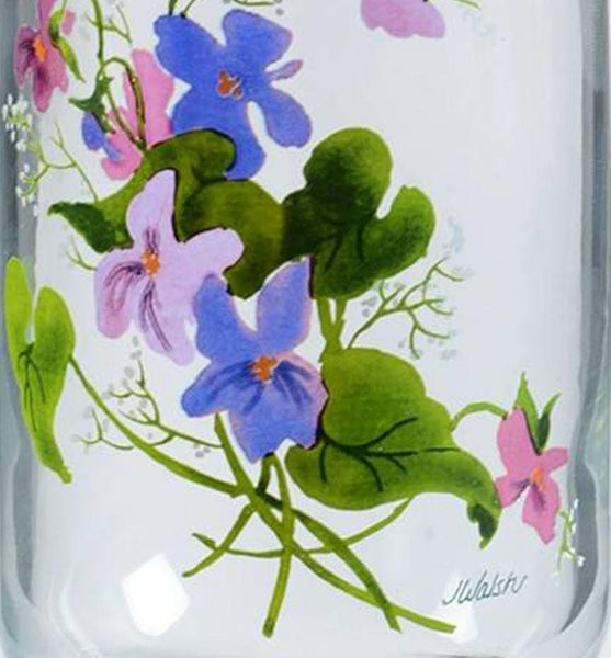WILD VIOLETS COLLECTION By Avon Hand Painted Crystal Tumbler Made in France 22K Gold