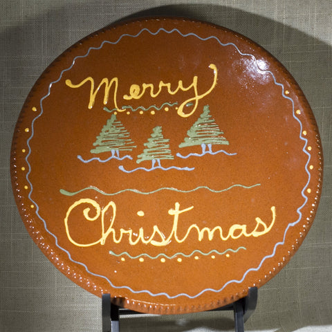 "TURTLECREEK POTTERS Merry Christmas Redware 10"" Plate Circa 1990s"