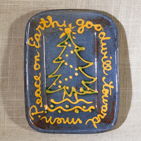 "TURTLECREEK POTTERS Peace on Earth Redware 5"" Dish Signed Mary Circa 1985"