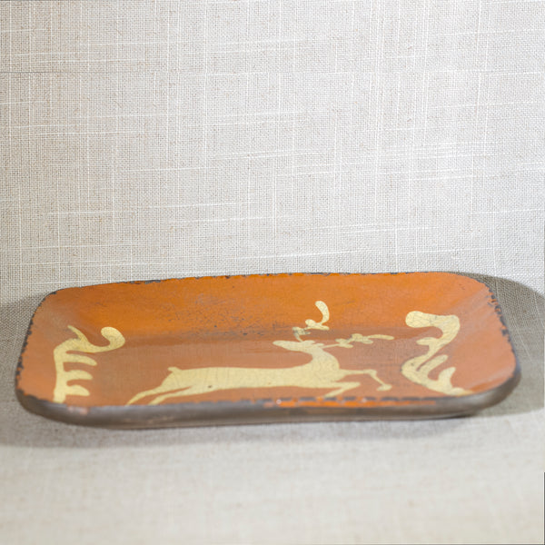 TURTLECREEK POTTERS MORROW OHIO Redware Stag Dish Circa 1990s