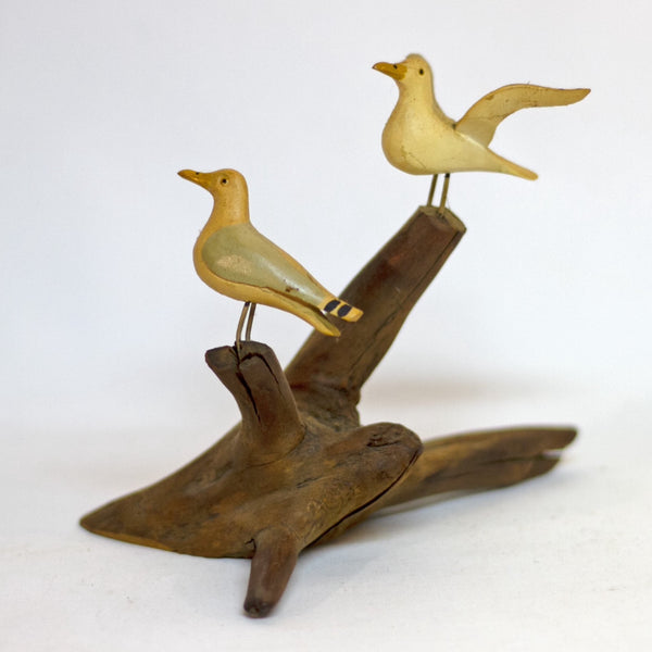 Hand Painted and Carved SEAGULLS WOOD SCULPTURE Marked Bar Harbor ME Circa 1980s