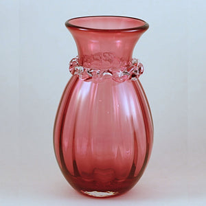 PILGRIM CRANBERRY GLASS Vase with Fancy Rigaree Collar and Optic Stripe