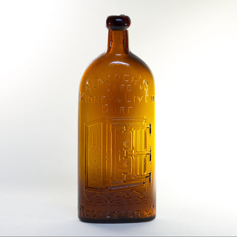 Antique WARNER'S SAFE KIDNEY & LIVER CURE Bottle in Amber Glass Circa 1880s