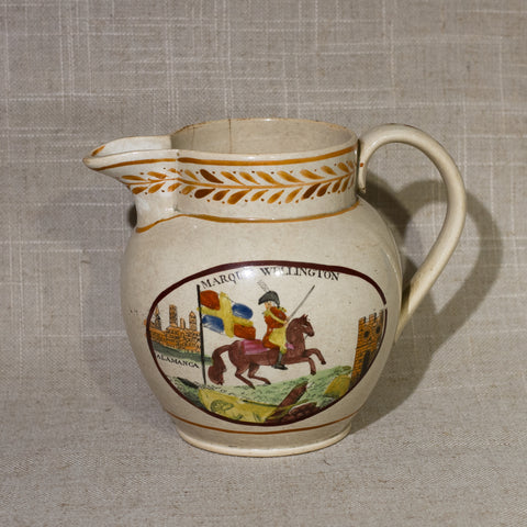 "Rare Sunderland Luster MARQUIS OF WELLINGTON Commemorative 4 ½"" Pitcher Circa 1812"