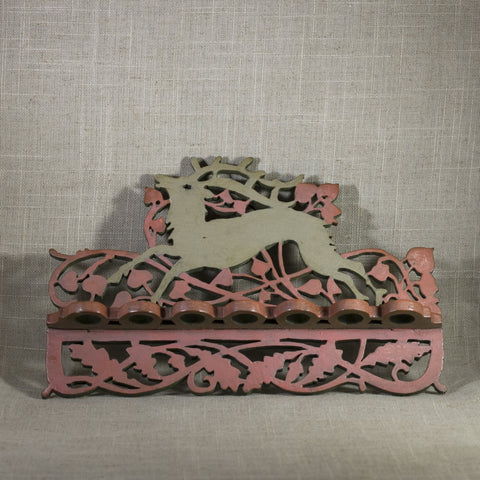 FOLK ART SPOON RACK Scroll and Fretwork Design with Stag
