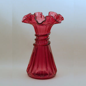 FENTON COUNTRY CRANBERRY Wheat Vase with Crimped Edge