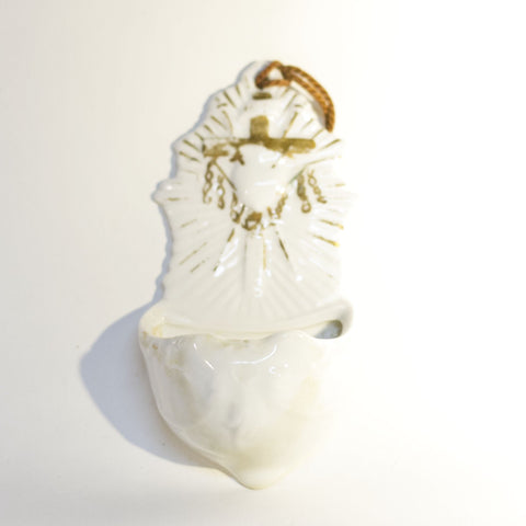 Vintage HOLY WATER FONT Depicting SACRED HEART, CROSS and CHAINS White Glazed Bisque with Hand-Painted Gold Gilt