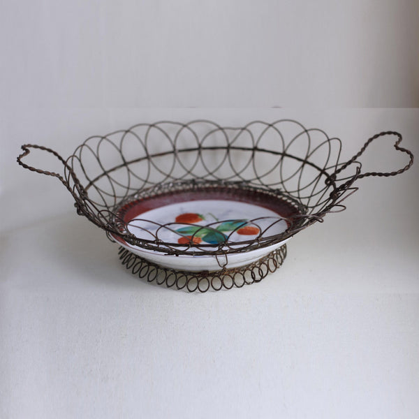 WIRE BUN BASKET with Heart Shaped Handles