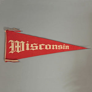 University of Wisconsin Antique College Sewn Letter Felt Flag Pennant Circa 1910