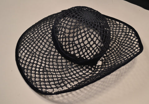 1 BLACK OPEN WEAVE GARDEN TEA PARTY HAT