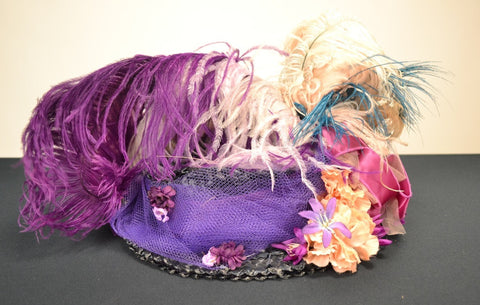 1 NAVY BLUE STRAW GARDEN TEA PARTY HAT