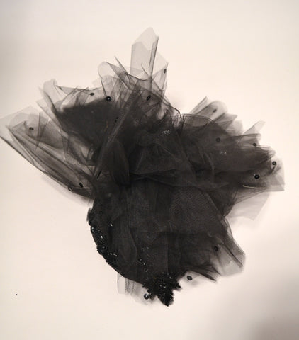 1 BLACK TULLE EVENING HAT