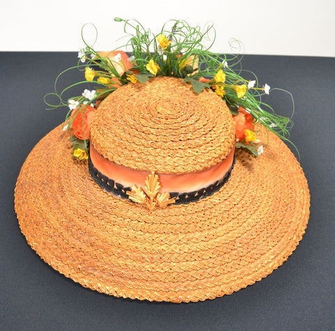 1 NATURAL STRAW GARDEN TEA PARTY HAT