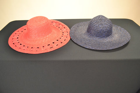 2 STRAW GARDEN TEA PARTY HATS