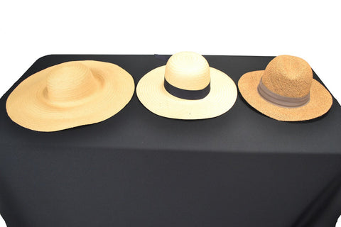3 NATURAL STRAW AFTERNOON HATS