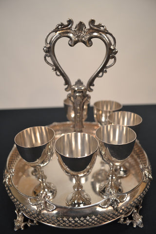 Debbie Reynold's Personal Silver Serving Tray With Cordial Cups