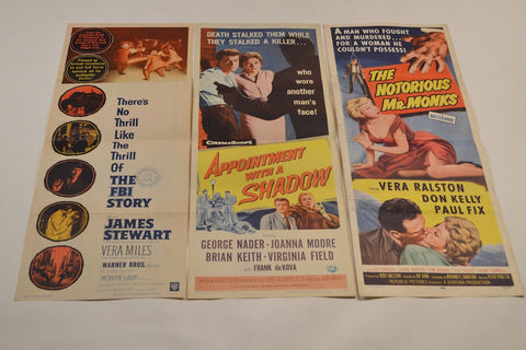 Vintage Crime, Noir And Suspense (17) Insert Poster Collection. (Various,  1948-1963)