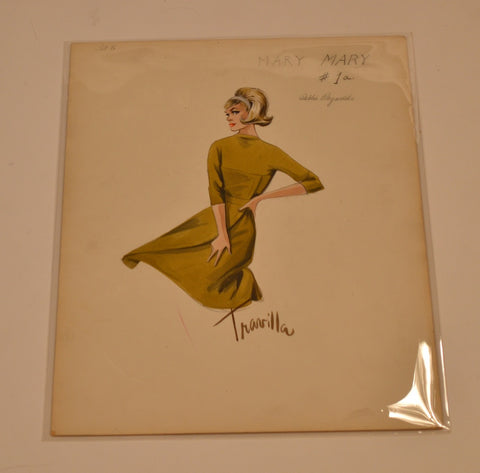 Travilla Costume Sketch Of Debbie Reynolds In Mary, Mary. (Warner Bros., 1963)