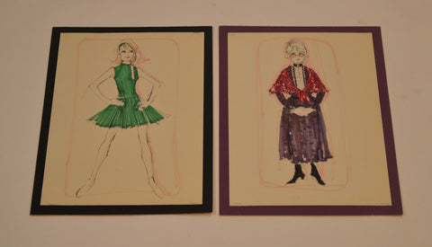 Pair of Debbie Reynolds Costume Sketches For Her Las Vegas Stage Show. (1967)